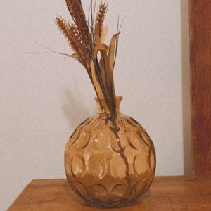 Bohemian Yellow Stained Embossed Glass Vase Floral